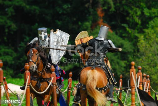 istock Medieval Knights - Jousting 176064070