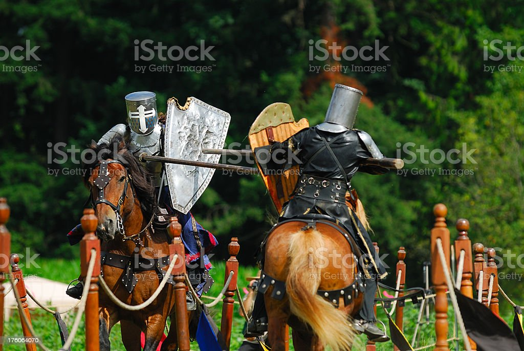Medieval Knights - Jousting stock photo