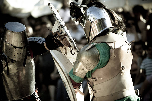 medieval knights - battle stock photos and pictures