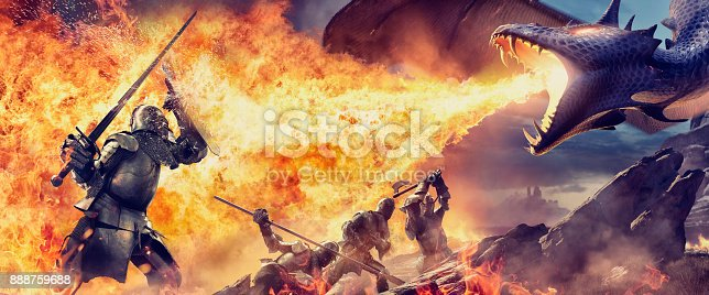 A composite image of four medieval knights in suits of armour being attacked by a fire breathing dragon in rocky terrain. The closest knight is holding up a sword and shield to protect against the dragons flames. The other three knights are standing or kneeling, each holding different weapons.