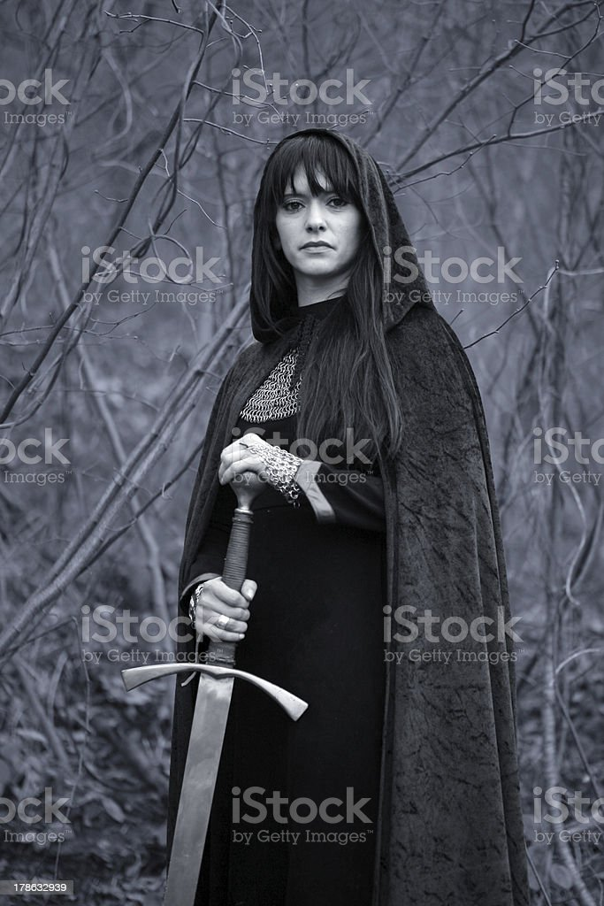 Medieval lady with sword stock photo