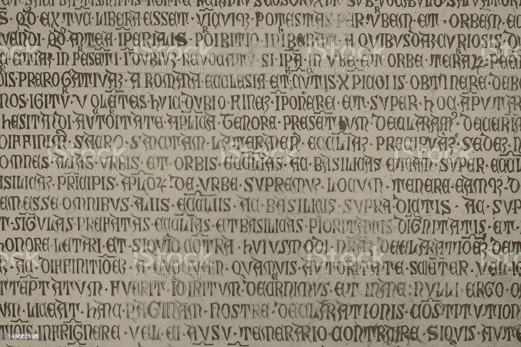 Medieval latin catholic inscription royalty-free stock photo