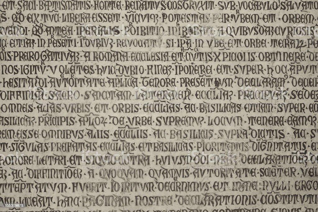 Medieval latin catholic inscription stock photo