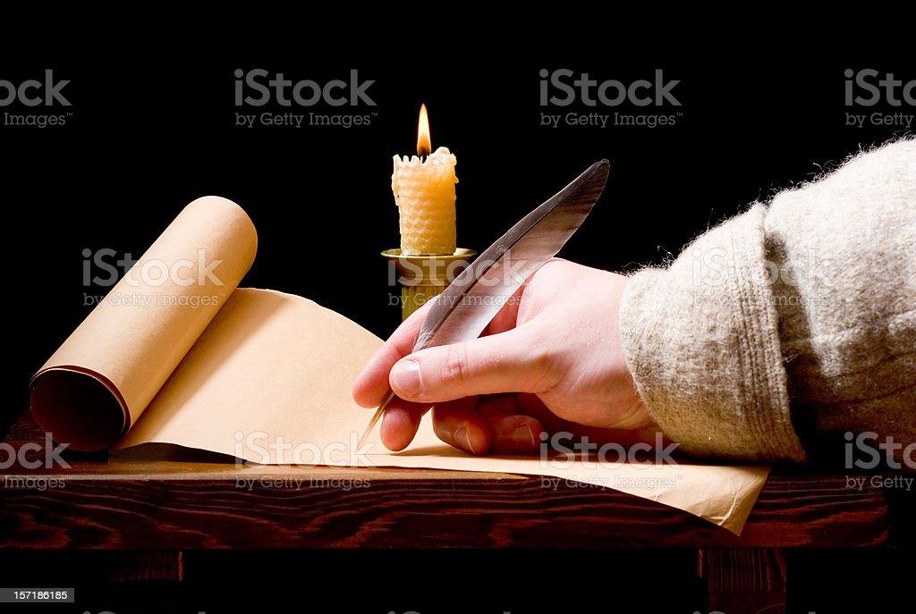 Medieval man writing royalty-free stock photo
