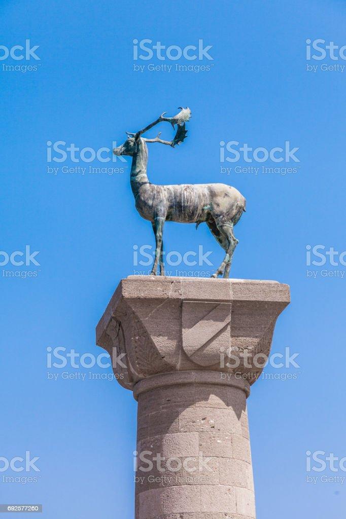 Medieval Mandraki Deer Statue of Rhodes, Greece stock photo