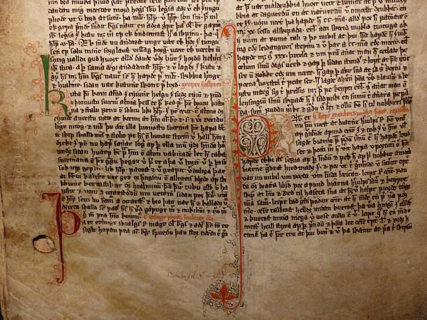 Medieval manuscript stock photo