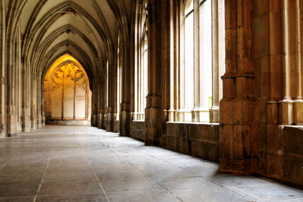 Medieval monastery corridor in Utrecht  monastery stock pictures, royalty-free photos & images