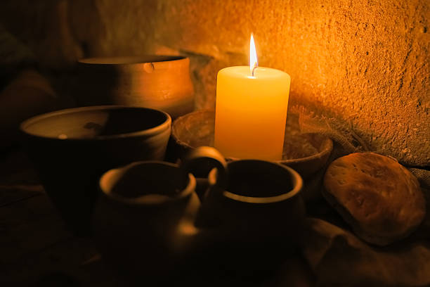 Medieval monastic meal stock photo