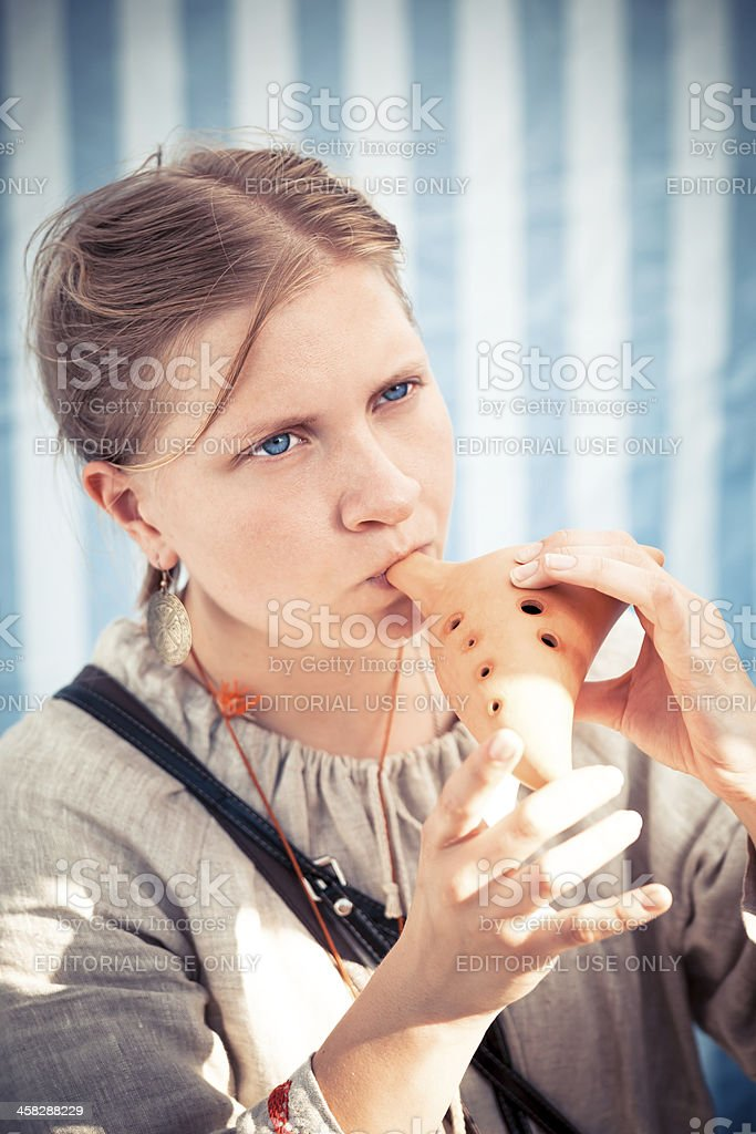 Medieval musician stock photo