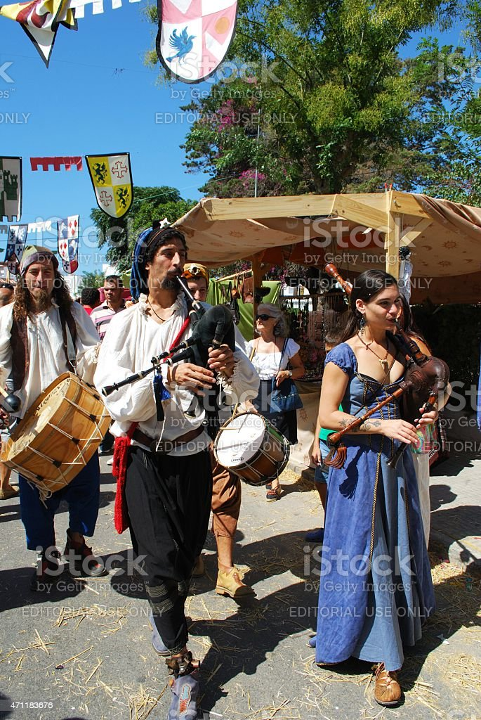 Medieval musicians, Barbate. stock photo