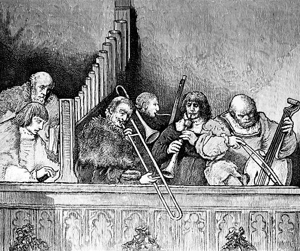 Medieval Musicians Playing Music - foto de acervo