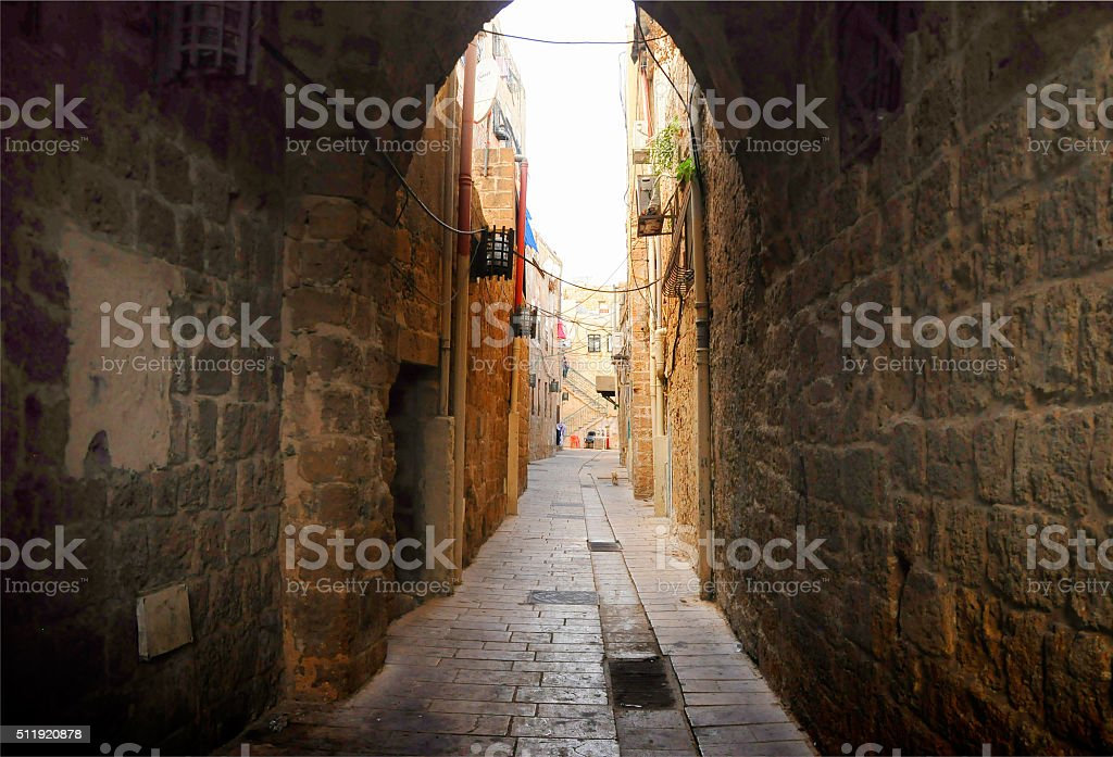 Medieval narrow street stock photo