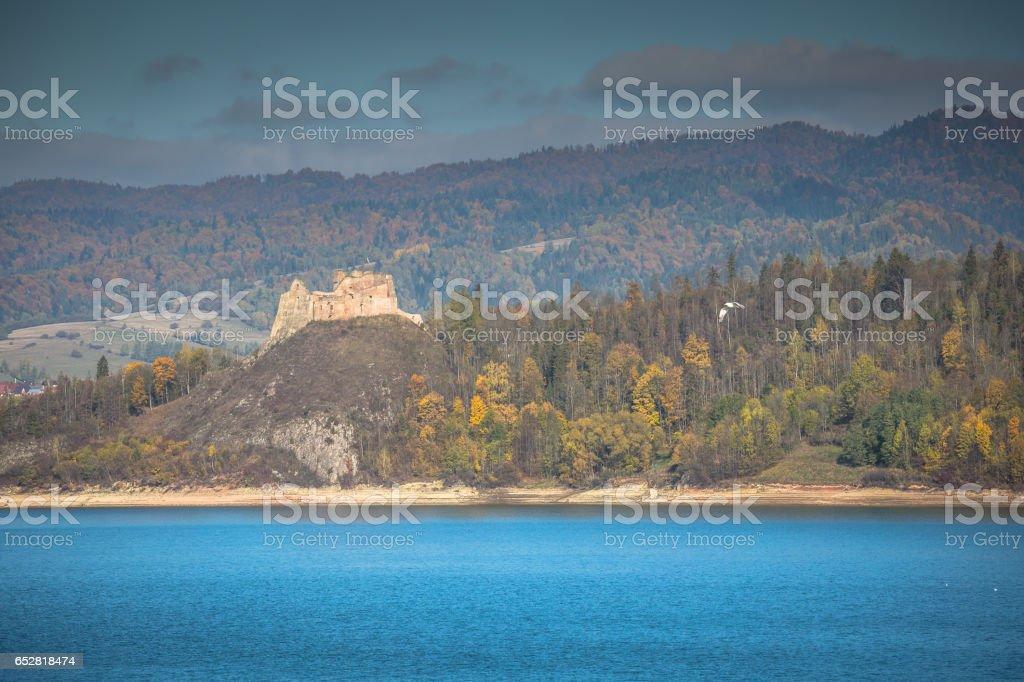 Medieval Niedzica Castle at Czorsztyn Lake in Poland stock photo