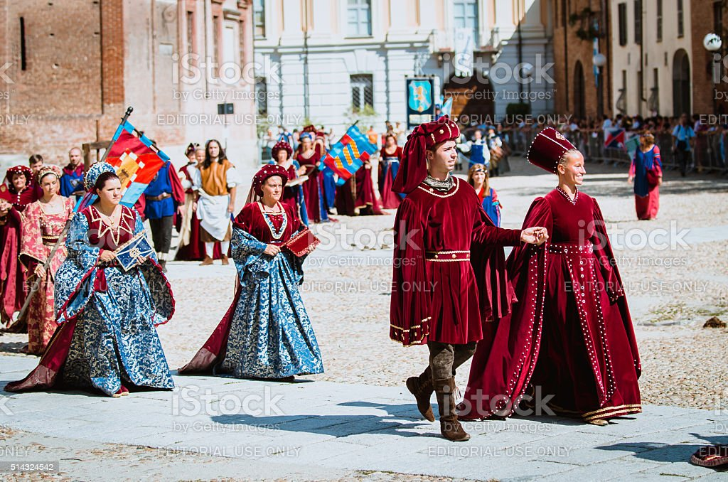 Medieval nobility in parade stock photo