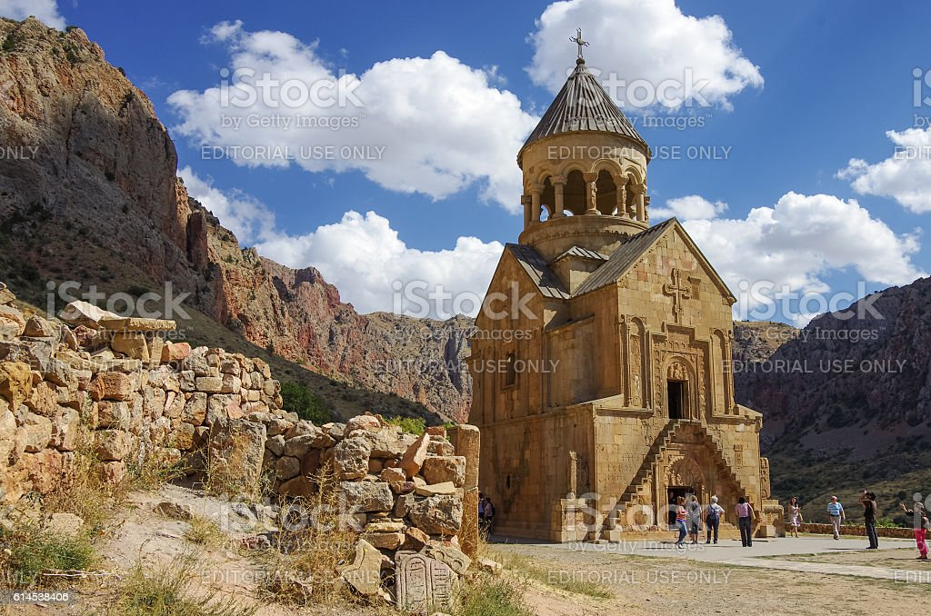 Medieval Noravank monastery complex in Amaghu valley, Armenia stock photo