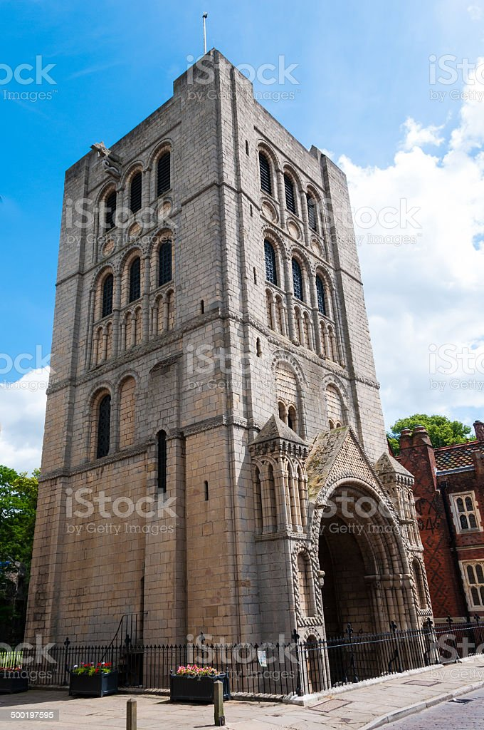 Medieval Norman tower beside the St Edmundsbury cathedral royalty-free stock photo