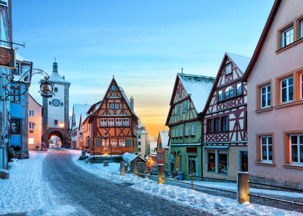 Medieval old Rothenburg ob the Tauber Amazing winter in old town of Rothenburg ob der Tauber, Middle Franconia, Bavaria, Germany bavarian alps stock pictures, royalty-free photos & images