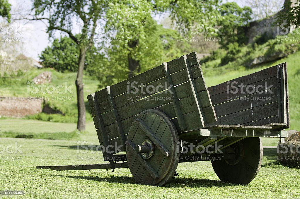 Medieval ox wagon stock photo