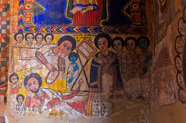mittelalterliche Malerei in der Kirche Abreha wa Atsbaha, Gheralta Region, Tigray, Äthiopien – Foto