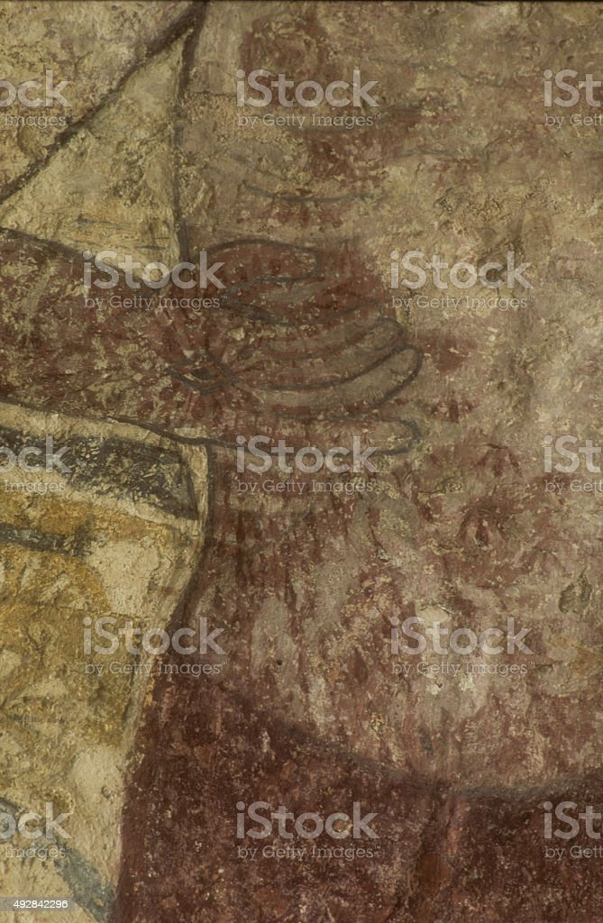 Medieval Painting of Jesus Breage Church stock photo