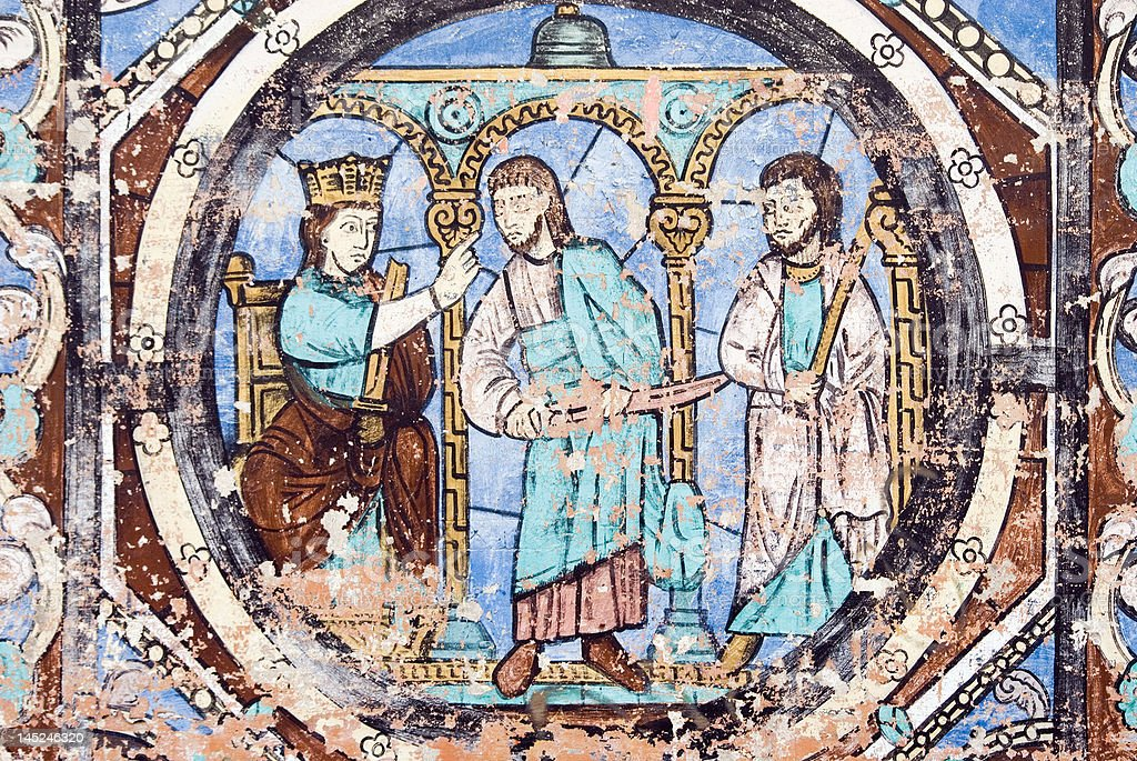 Medieval painting stock photo
