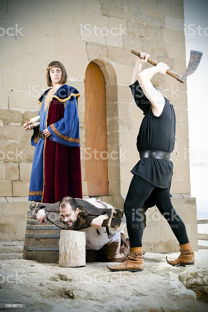 Medieval public beheading stock photo