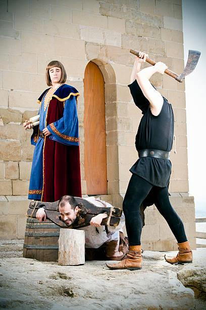 Medieval public beheading stock photo