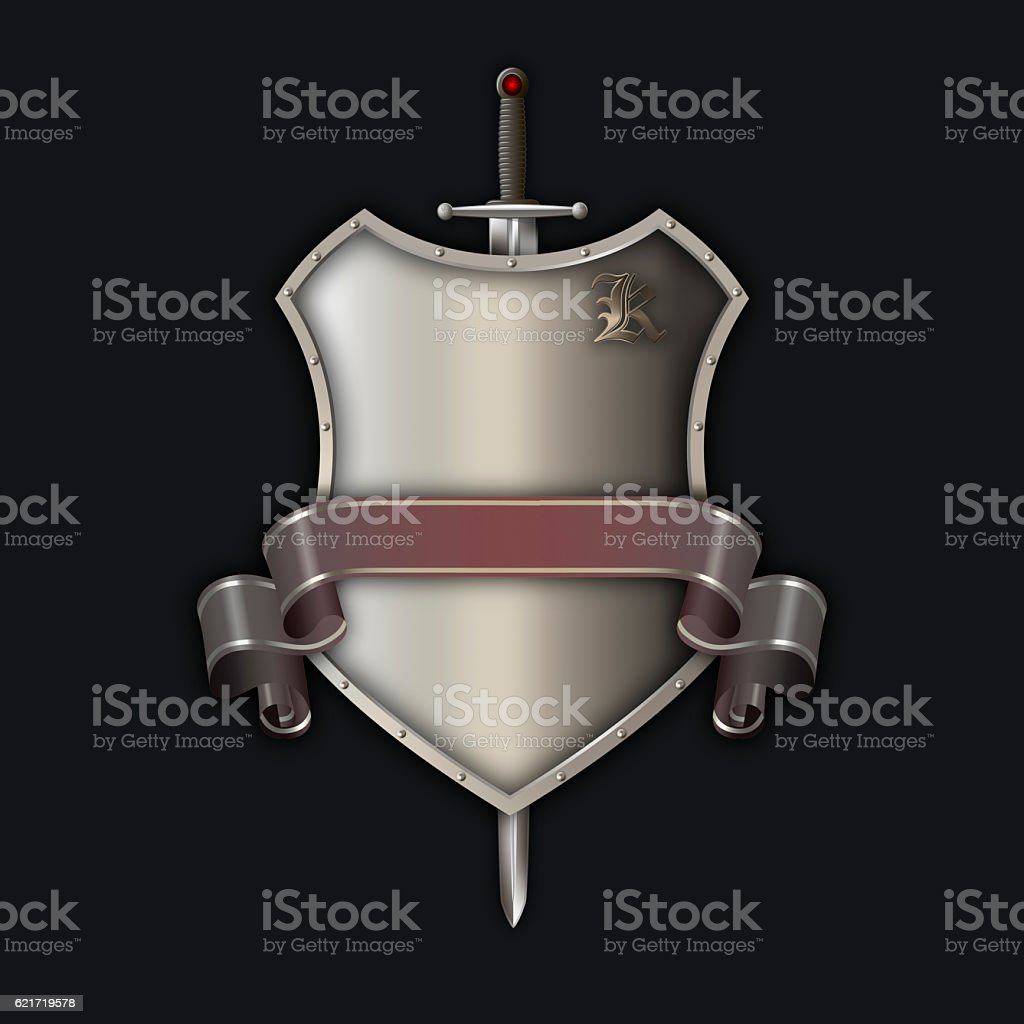 Medieval riveted shiel with sword and ribbon. stock photo