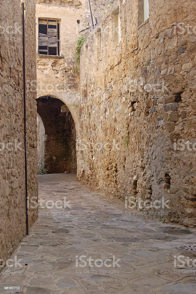 Medieval road, Italy royalty-free stock photo