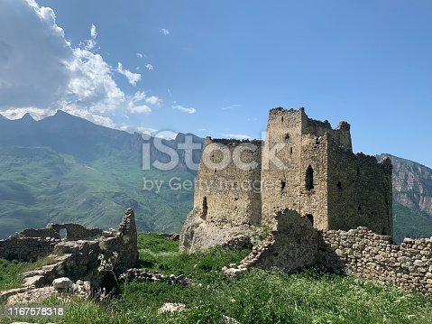 Medieval rock fortress in North Ossetia Alania