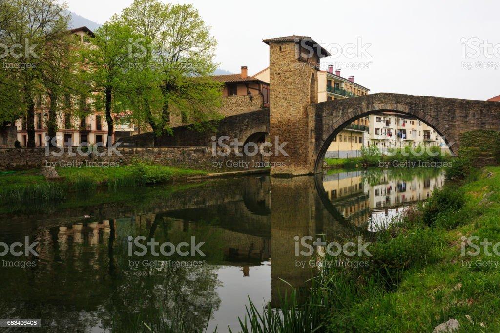 Medieval Romanesque bridge of Balmaseda, Bizkaia, Basque Country, Spain stock photo