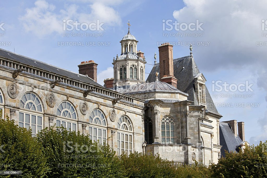 Medieval royal castle Fontainbleau near Paris in France and gard stock photo