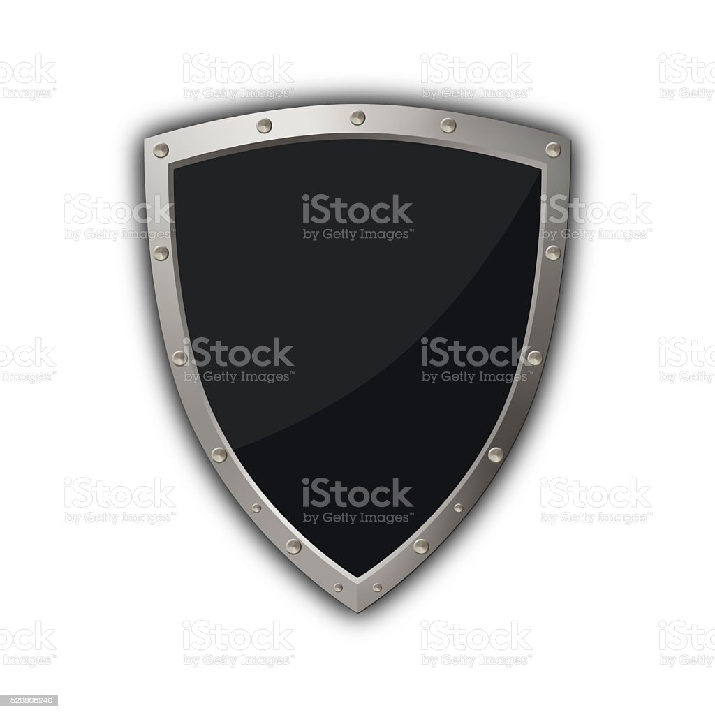 Medieval shield on white background. stock photo
