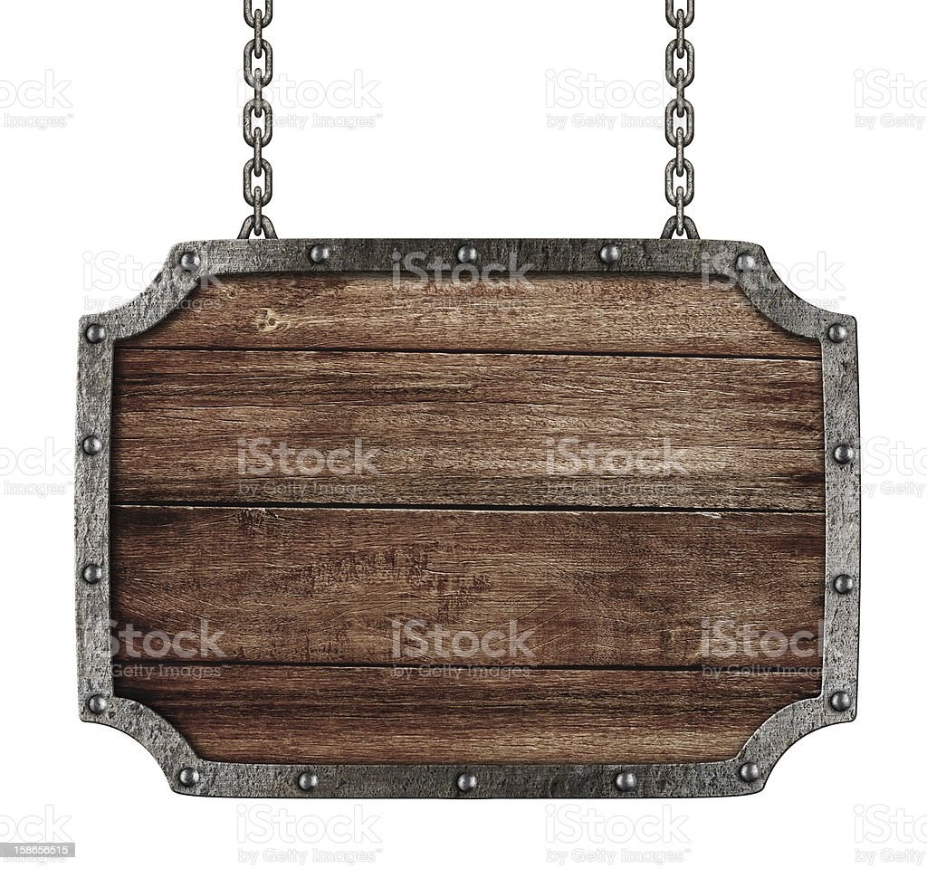 medieval signboard with chains isolated on white stock photo