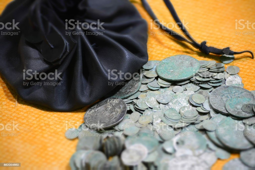 medieval silver coins, lot stock photo