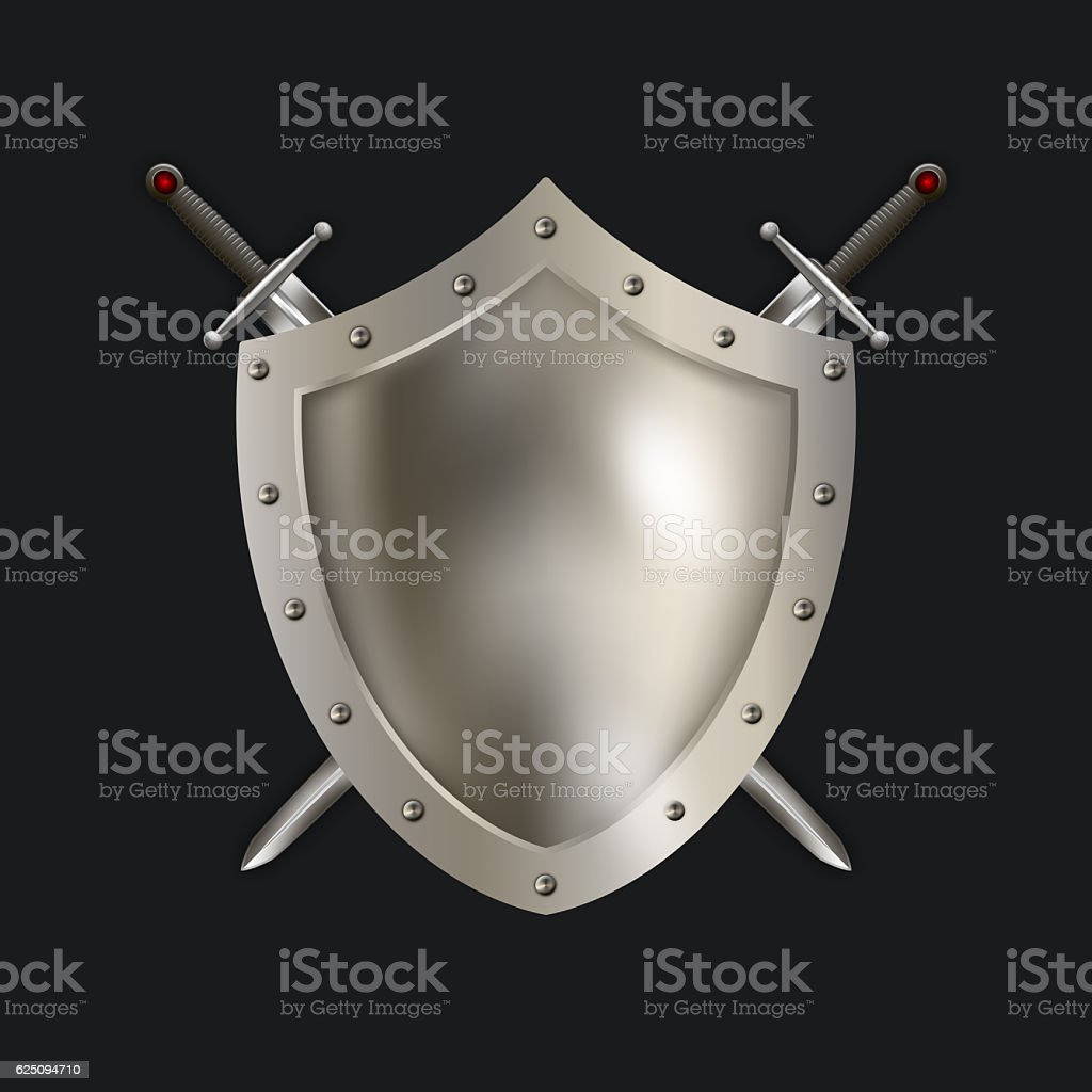 Medieval silver shield with swords. stock photo