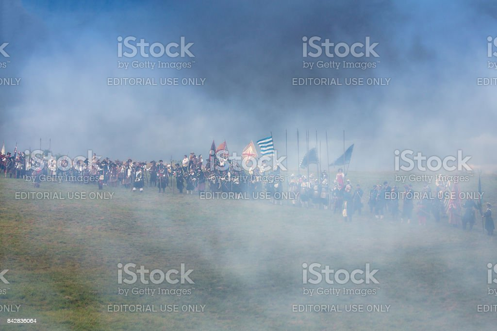Medieval soldiers on the battlefield by Palmanova stock photo