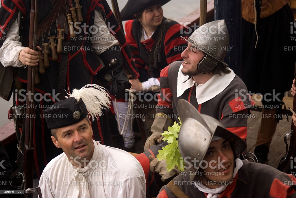 Medieval soldiers, Tata, Hungary stock photo