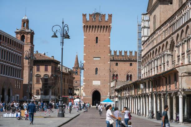 Medieval square Trento-Trieste in Ferrara, Italy stock photo