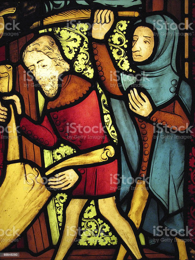 Medieval Stained Glass Panel royalty-free stock photo