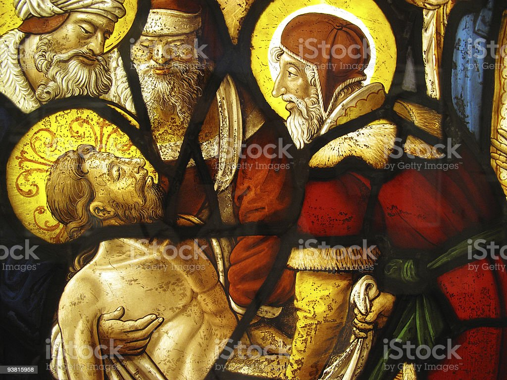 Medieval Stained Glass The Entombment of Christ royalty-free stock photo