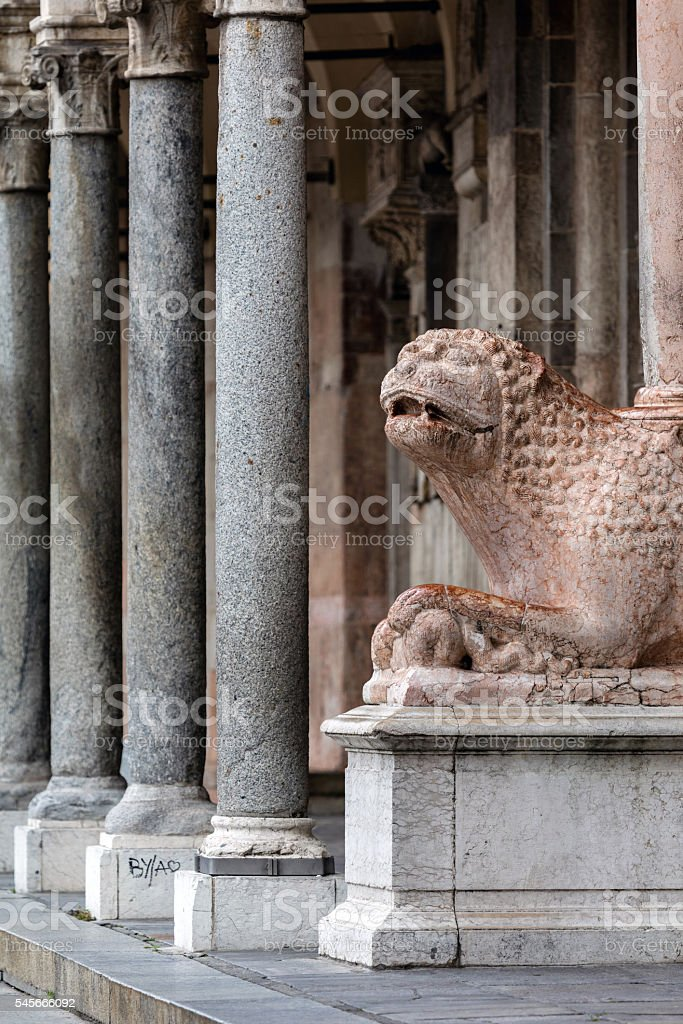 Medieval statue of a lion, Cremona, Italy stock photo