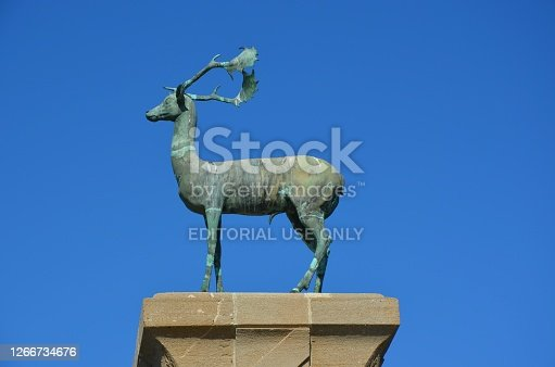 istock Medieval statue of deer - Mandraki Harbour, Rhodes 1266734676