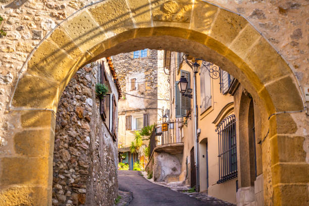 Medieval stone arch in Biot, France stock photo