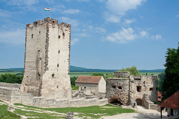 Medieval stone Kinizsi castle tower and countryside in Nagyvazsony Hungary stock photo