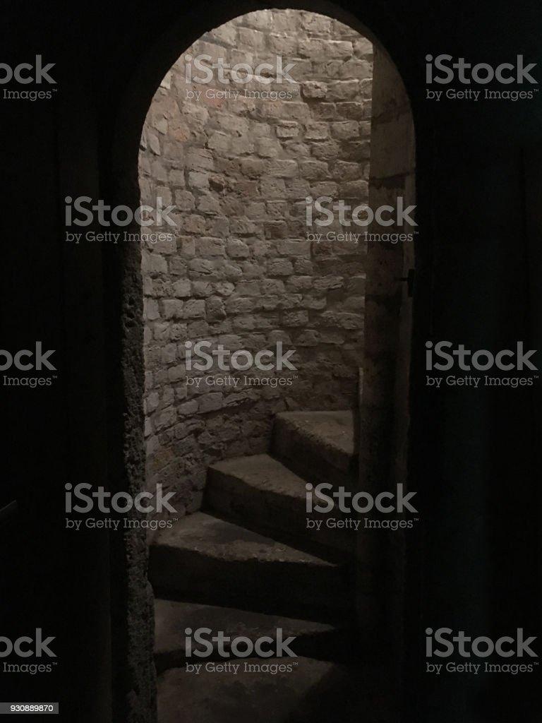 Mittelalterliche Stein Wendeltreppe Stufen Hinauf Zum Erdgeschoss ...