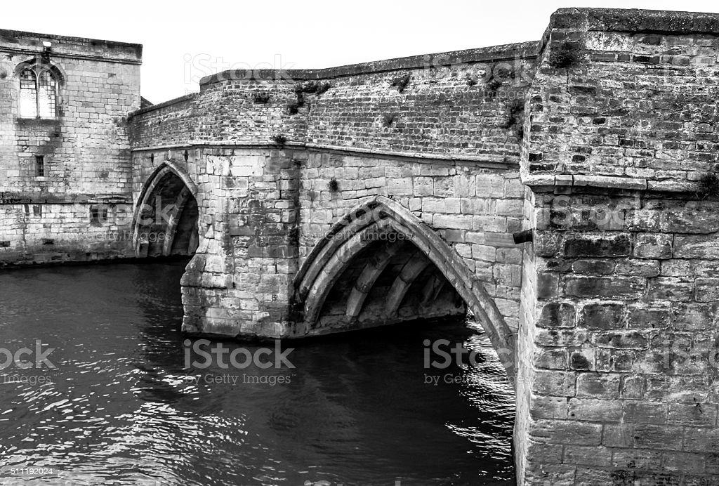 Medieval Stonework Bridge In Cambridgeshire stock photo