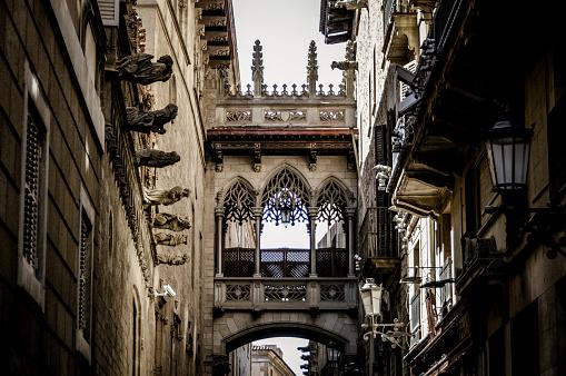 Medieval Street in Barcelona, Spain.