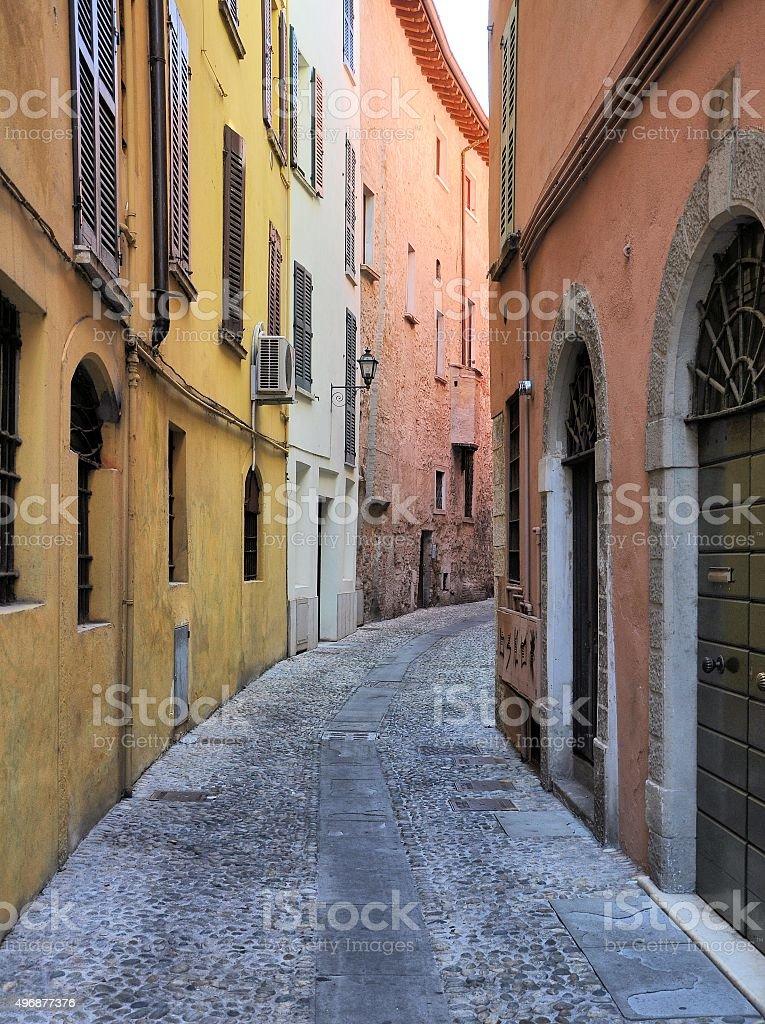 Medievale street a Brescia, Italia. - foto stock