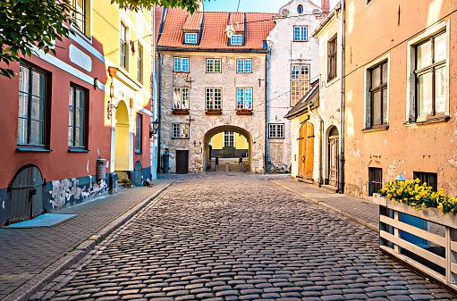 Medieval street in old Riga city, Latvia